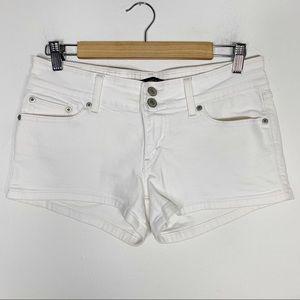 LEVIS white denim low rise jean shorts